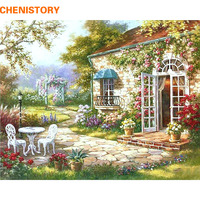 Unframed Garden House DIY Painting By Numbers Abstract Modern Oil Painting Home Wall Art Decor For