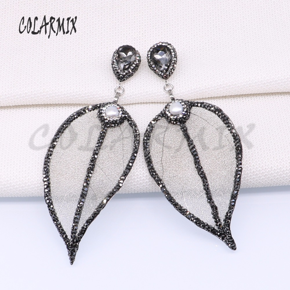 5 pairs natural leaf earrings with pearl beads leaf plated wholesale jewelry earrings wholesale jewelry 3890