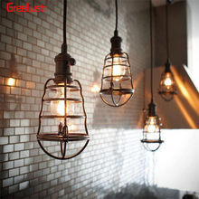 110V 220V Pendant Light Retro Wire Loft Droplight Fixture Iron Hanging light Metal Frame Lamp Holder Luminaria Lampara Vintage(China)