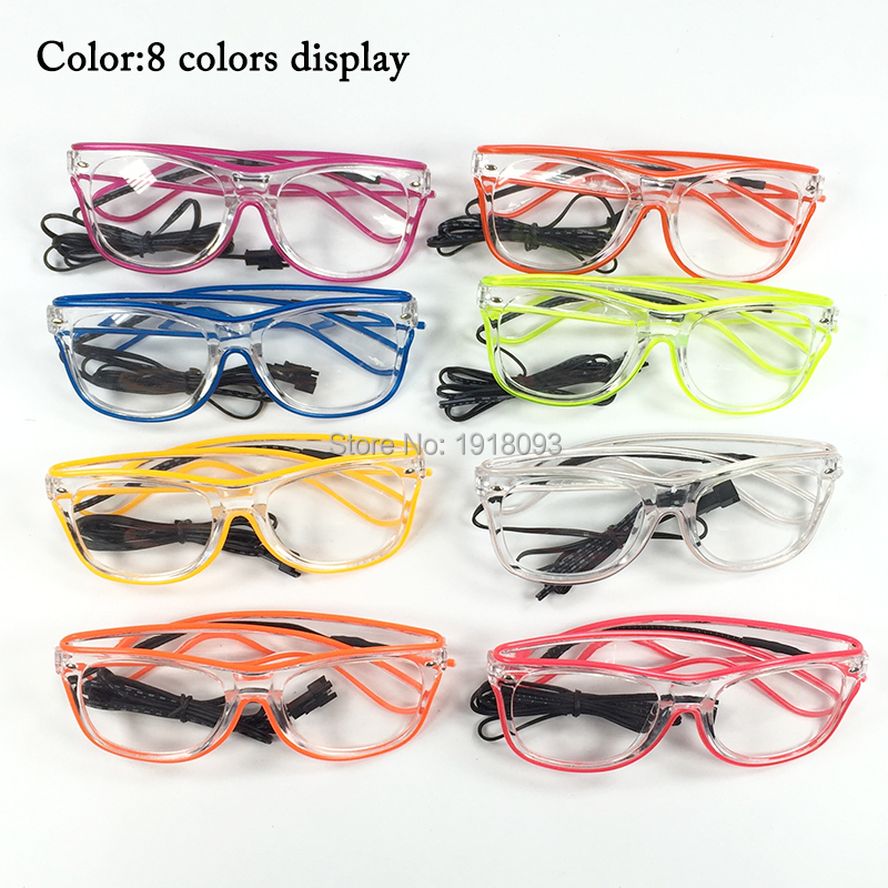 10Pieces Novelty Lighting Glasses EL Glasses EL Wire Glowing Product 10 Lighting Colors with DC-3V Sound activated Driver 3m 2 3mm el wire 3v aaa sound activated battery inverter mix order available