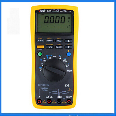 US $139 0 |VICTOR VC98A Digital Multimeter Thermocouple K RTD PT100, Anti  High Voltage Circuit Design,Backlight,lager LCD-in Multimeters from Tools  on