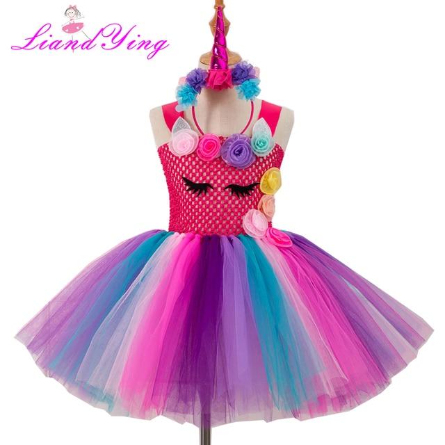 f1e7e1e5ed6a Flower Girls Cartoon Tutu Dress Pastel Rainbow Princess Girls Birthday  Party Dress Children Kids Halloween Costume With Headband
