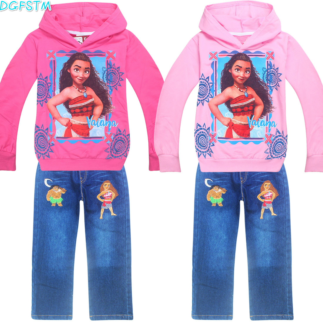 New Children Girls clothing set Autumn spring Moana long sleeve t-shirt+jeans pants 2pcs/set sprot wear Kids Vaiana clothes suit free shipping children clothing spring girl three dimensional embroidery 100% cotton suit long sleeve t shirt pants