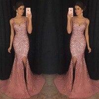 Женское платье с вышивкой и высоким разрезом, вечернее, свадебное, для матери невесты, для особых случаев, макси, сексуальное, с глубоким v-об...