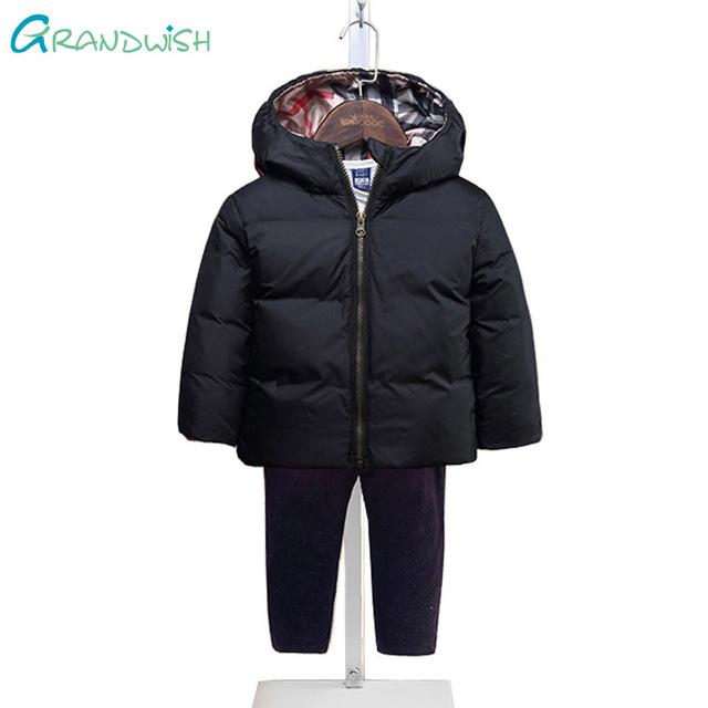 Grandwish nuevo invierno niños enfríen chaquetas niños de impresión con capucha abrigo de invierno niñas ropa de abrigo niños zipper la ropa 3 t-10 t, SC351