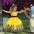 Прекрасный Желтый Бальное платье Девушки Цветка Платья С Кружевом 2016 Быстрая Доставка Рукавов Этаж Длина платья Для Свадьбы Платья