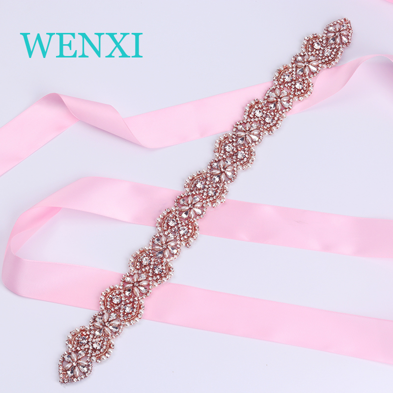 WENXI 1PCS Hand Protein Beads Rose Gold Rhinestones Appliques Sew On For Wedding Dress Sash Accessories WX866