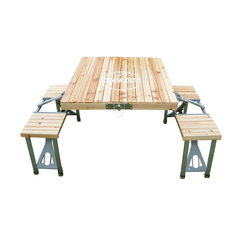 Outdoor portable Wood one piece folding integrated folding table