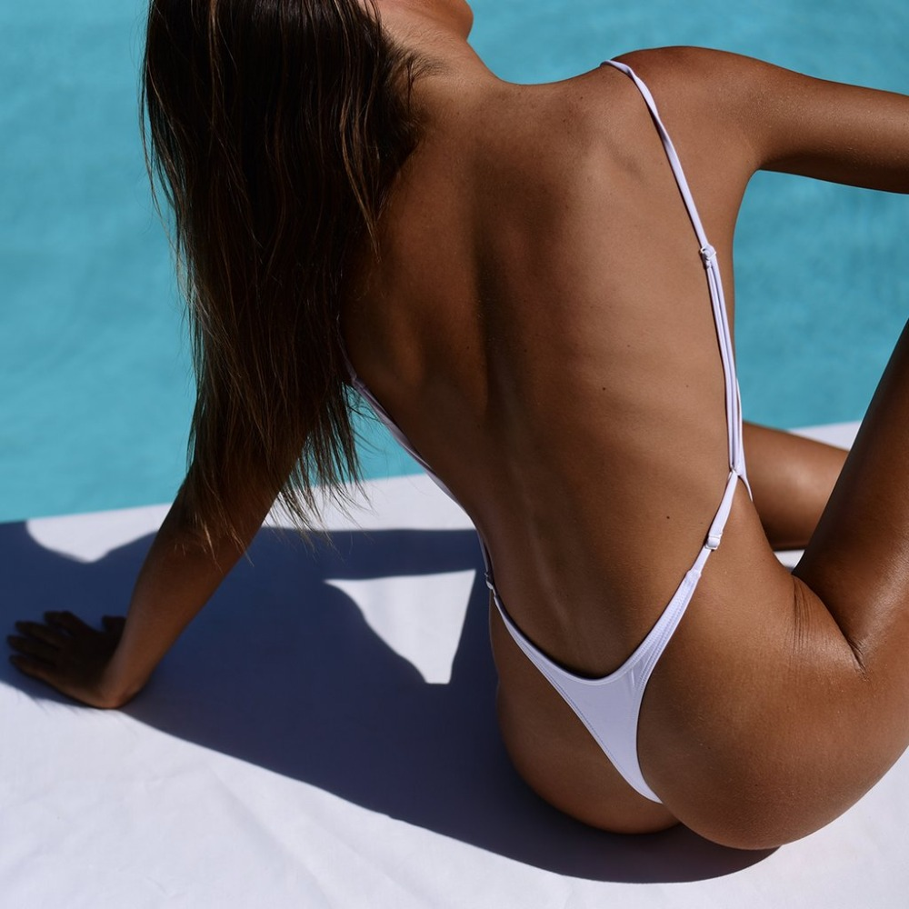 <font><b>Sexy</b></font> <font><b>high</b></font> <font><b>cut</b></font> <font><b>One</b></font> <font><b>Piece</b></font> Swimsuit Thong <font><b>Swimwear</b></font> <font><b>Women</b></font> Trikini <font><b>2018</b></font> Monokini Backless Triquini Cross Bandage Leotard Bathing Suit image