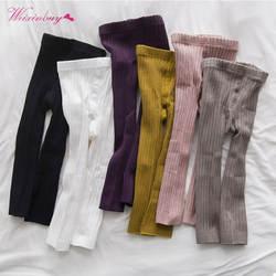Хлопковые однотонные леггинсы для маленьких девочек, милые повседневные теплые Стрейчевые леггинсы в Корейском стиле, брюки