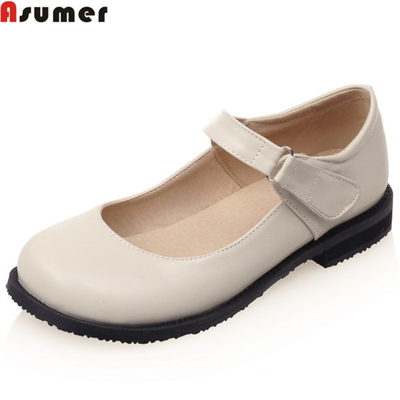 ASUMER 2018 fashion spring autumn flat shoes woman round toe casual mary janes shoes big size 33-43 black women flats asumer white spring autumn women shoes round toe ladies genuine leather flats shoes casual sneakers single shoes