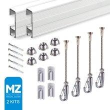 무료 배송 Cliprail Complete picture frame hangers 아트 그림 매달려 갤러리 시스템 (2 레일 4 후크 및 4 케이블, 흰색)