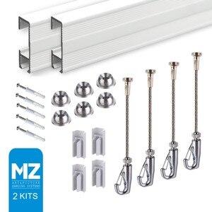 Image 1 - Gratis Verzending Cliprail Compleet Fotolijstje Hangers Art Foto Opknoping Gallery Systemen (2 Rails 4 Haken En 4 Kabels, wit)