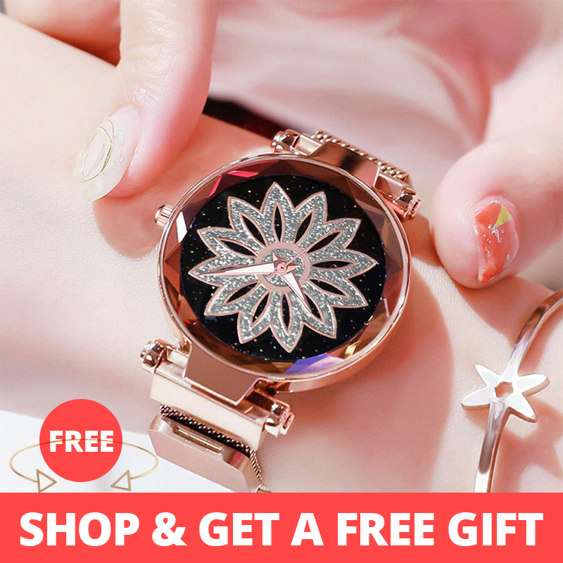 Luxury Rose Gold Women Mesh Magnet Buckle Watches Hot Fashion Flowers Elegant Ladies Wristwatches Female Magnetic