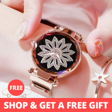 Luxury Rose Gold Women Mesh Magnet Buckle Watches Hot Fashio