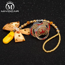 MIYOCAR golden bow bling rhinestone pacifier clip holder dummy with  crown idea gift