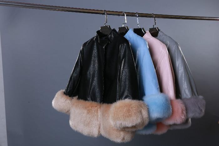 M De blue Femme pink Solide Casual Pu Black Base Chaud Femmes En Cuir Haute Manteau Vestes Qualité Veste Doux Automne Fourrure xxl Menbone Hiver H7qdwBHf