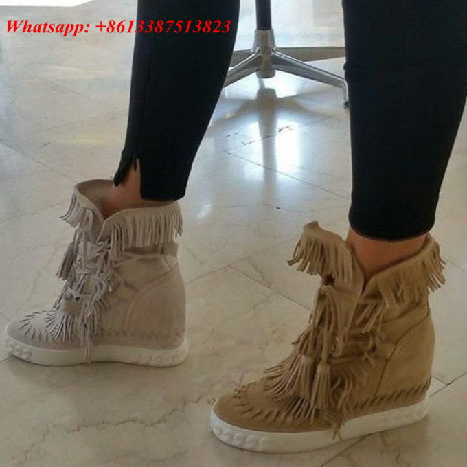 Zapatillas Deportivas Mujer Suede Fringe Lace Up Zapatos Mujer Tassel High  Top Hidden Wedges Women Ankle Boots Women Shoes Woman - Fringe Wedge Sneakers Promotion-Shop For Promotional Fringe Wedge