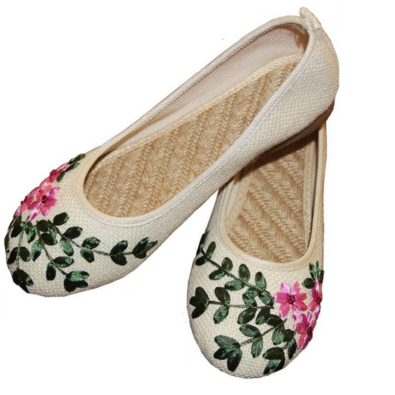 Cotton-made Old Beijing Handmade Embroidery Shoes Women Breathable Linen Flat Heel Casual Shoes Woman Flats Blue Beige White old beijing shoes new women s cotton