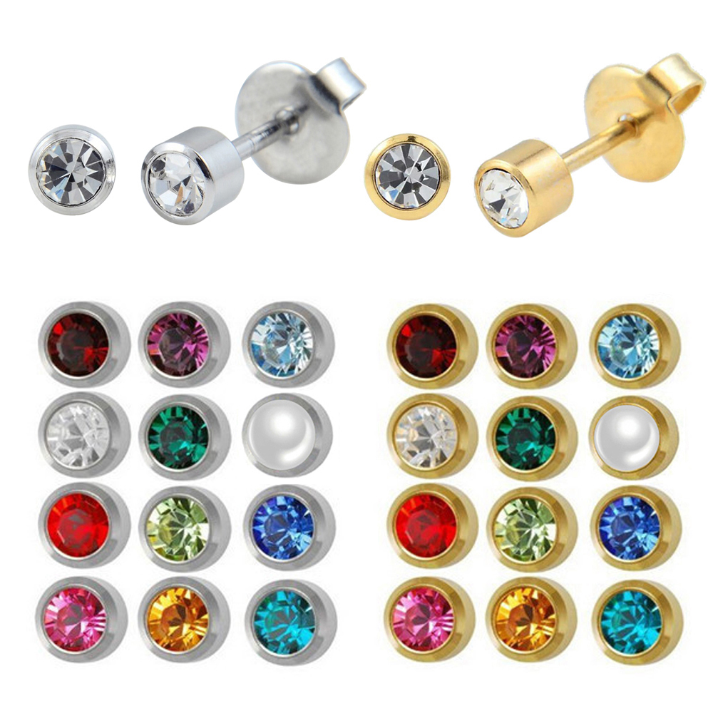 Stainless Steel Crystal Ear Piercing Studex Birthstone Earring Piercing Body Jewelry Ear Tragus Helix Cartilage 12pairs