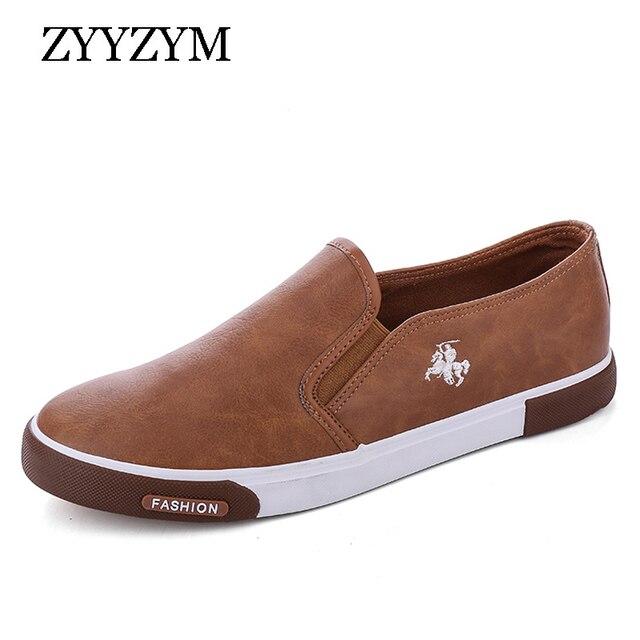 ZYYZYM أحذية أنيقة الرجال بو الجلود الرجعية تنفس الرجال حذاء خفيف في الهواء الطلق المتسكعون المشي Slacker حذاء رجالي