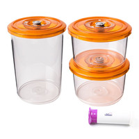 3pcs/set Round Vacuum Storage Container Set with Handheld Vacuum Pump Lids Sealed Food Storage Container Grain Storage Tank Tran