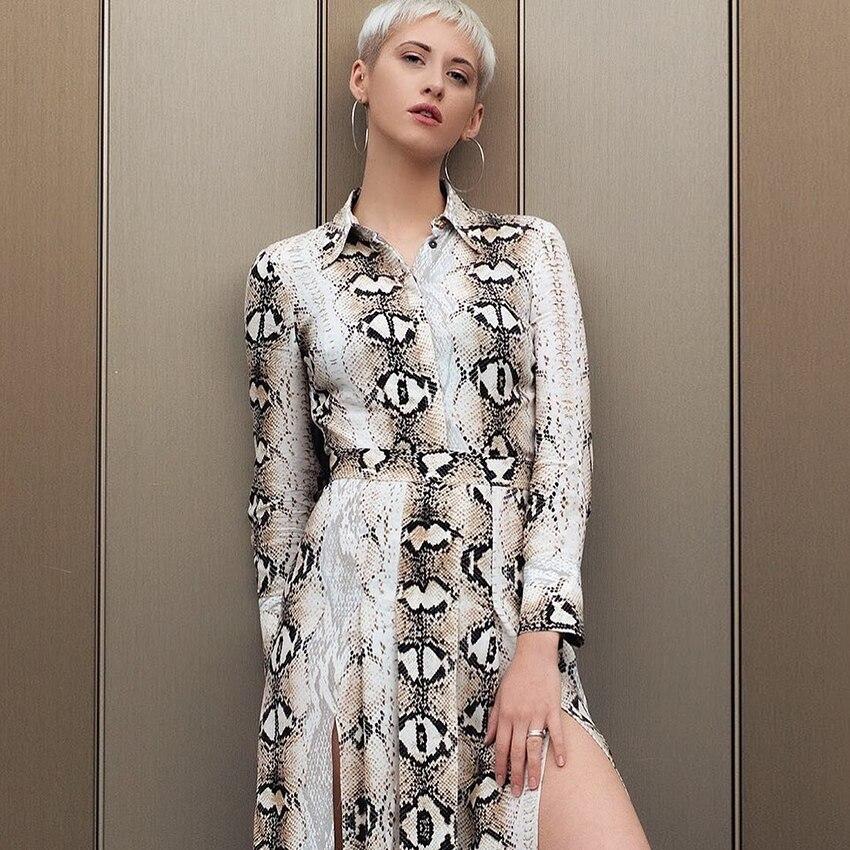 2018 New Maxi Dress Turn down Collar High Waist Women Print Snake Dresses Autumn Elegant Dress