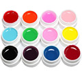 HOT 12 Pcs Mix Pure Solid Color UV Builder Gel Set for Nail Art False French Tips