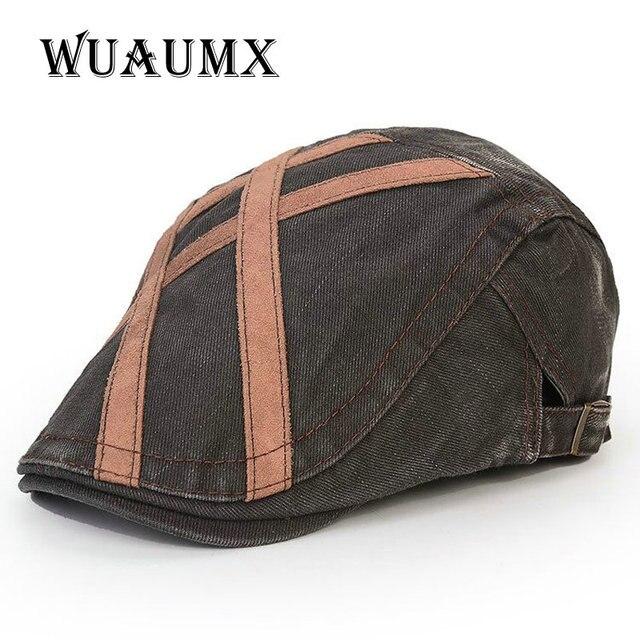 Wuaumx  marca vintage Inglaterra estilo visera boina del caballero para  los hombres sombreros del 015038879b0