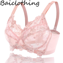 BAICLOTHING Women's Comfortable Full Coverage Underwire Non-padded Unlined Lace Floral Embroidery Bra Lingerie 36~48 B C D E F G(China)