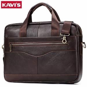 697e5c92bd KAVIS Genuine Leather handbag bag Men Crossbody Shoulder