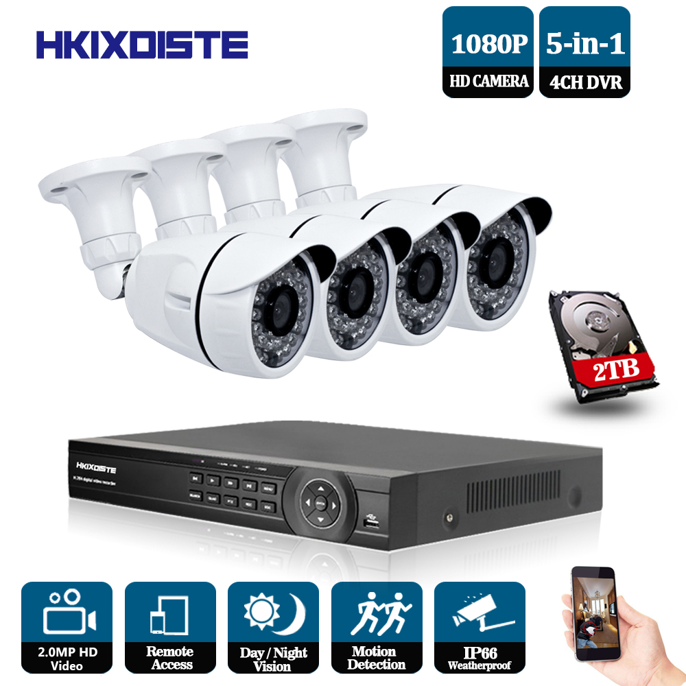 HKIXDISTE CCTV 4CH DVR 1080P Outdoor IR Night Camera Home Security System 4 Channels 2.0MP Surveillance kits 2TB HDD Optional