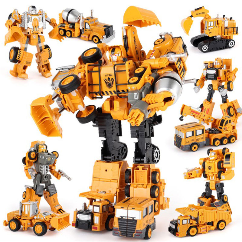 Transformation Robot Car Metal Alloy Engineering Construction Vehicle Truck Model Excavator Toys 2 In 1  Kid Toys Crane Gifts