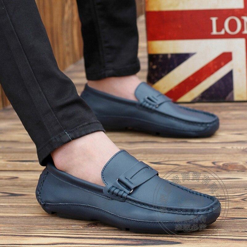 ФОТО Loafer Shoes Men Cow Split Shoes Blue Wear Repair Dough Plain Romantic Nude Soft Leather Classics Smooth Leather
