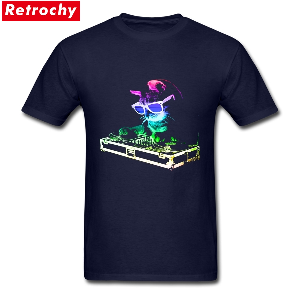 2017 New Summer Neon HOUSE CAT Rainbow DJ Kitty Light Up T Shirts for Men Casual Short Sleeve Cotton Tee Shirt Printing for Guy