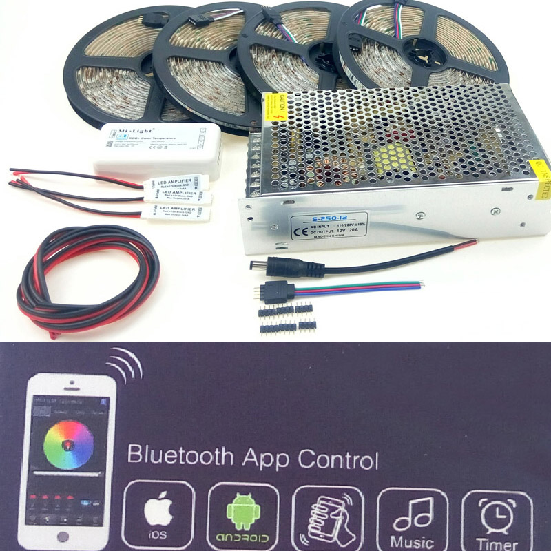 LED Strip Light 5050 RGB Warm white Cold white Red Blue kit Smart Bluetooth 20m 15m 5m 10m Waterproof IP65 Non-waterproof IP20 5050 led light strip 10mm connectors white black red 2 pcs