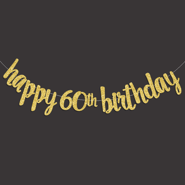 Gold Black Silver Glitter Happy 60th Birthday Banner Popular Sixty Party Decor 60 Decorations Supplies
