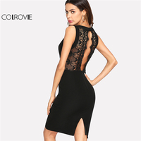 COLROVIE 2018 V Neck Sleeveless Dress Black Contrast Scalloped Eyelash Lace Plain Party Dress Women Sexy