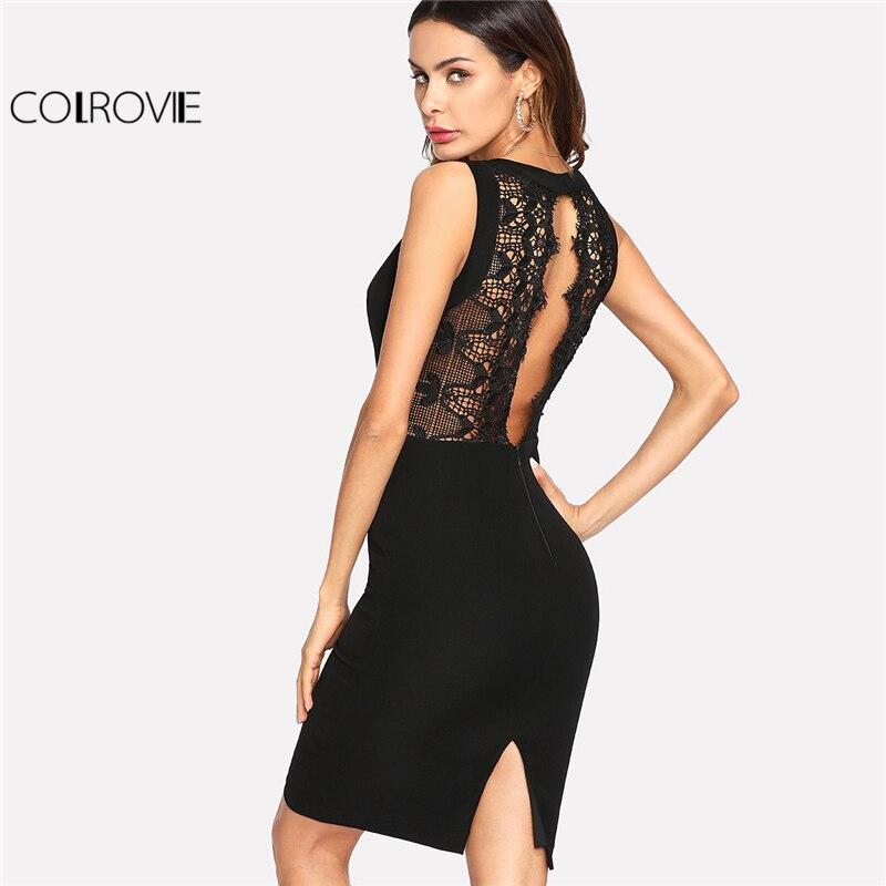 COLROVIE 2018 V Neck Sleeveless Dress Black Contrast Scalloped Eyelash Lace Plain Party Dress Women Sexy Backless Short Dress