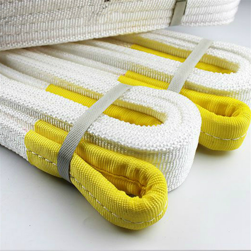 2t 1m White High Tensile Double Buckle Flat Webbing Sling Endless Industrial Lifting Chain Sling Polypropylene Fiber Strap