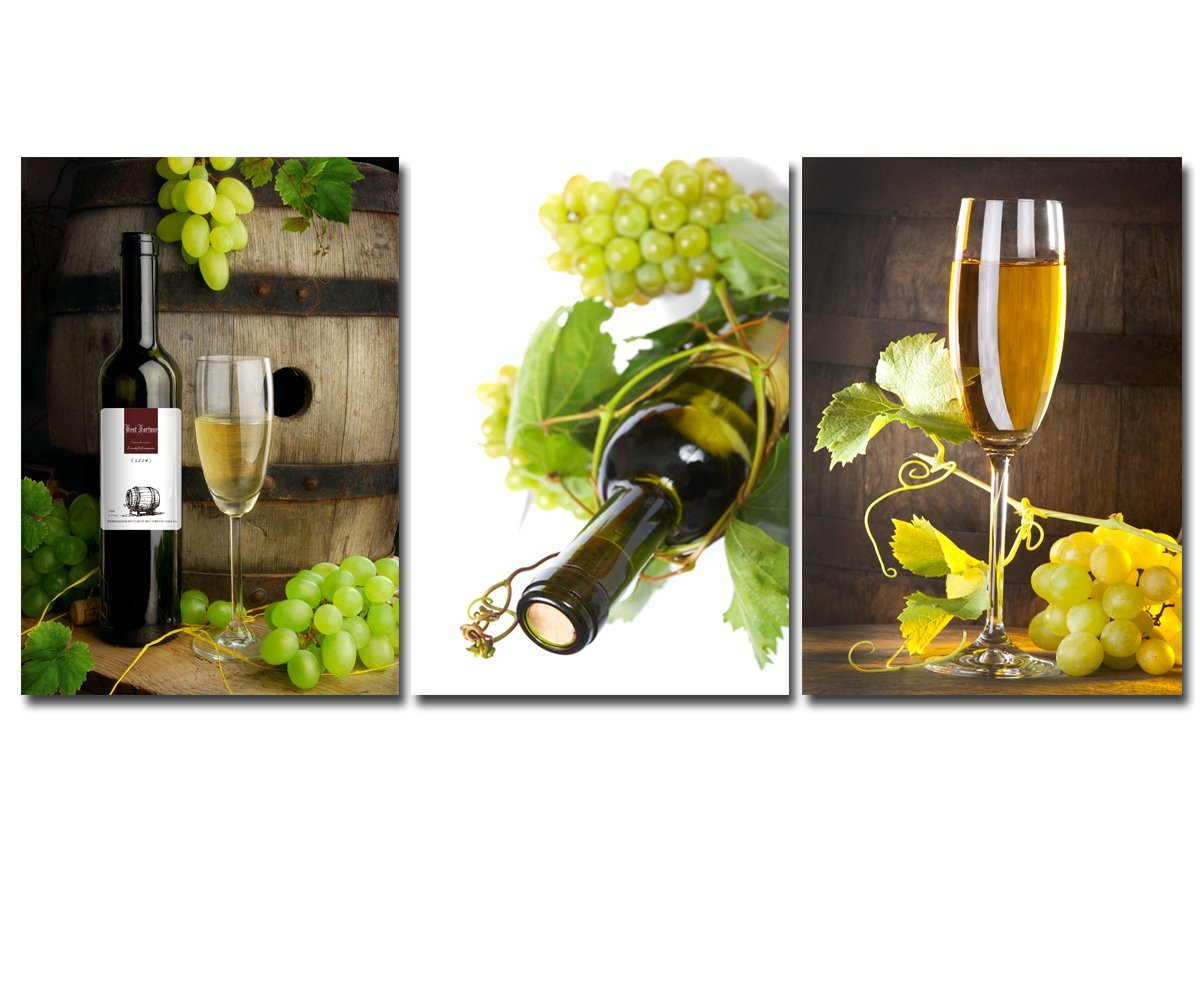 3 pcs wall art fruit grape wine glass painting modern canvas prints painting for kitchen living room wall art picturte no frame