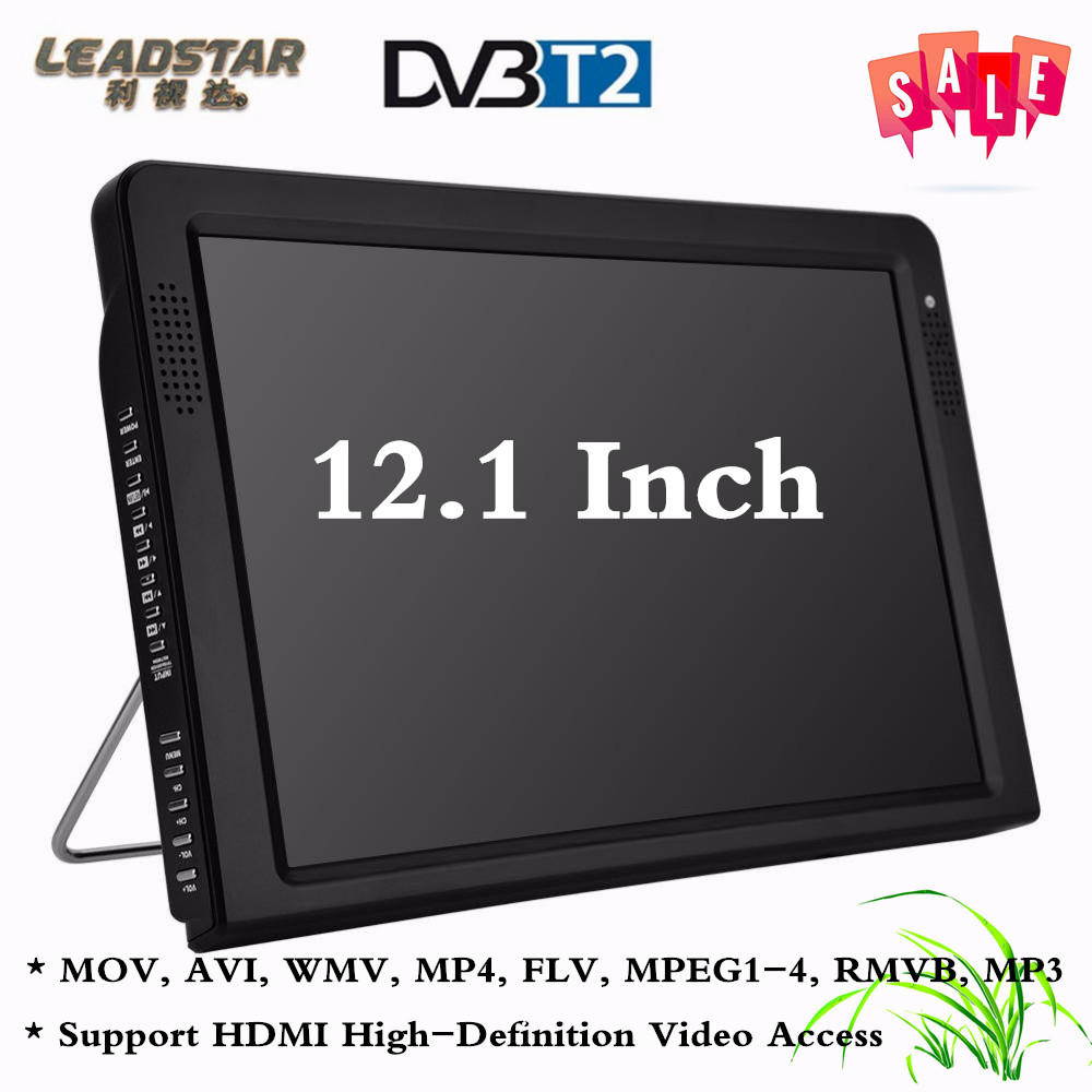 LEADSTAR Protable DVB TV Television Player 12.1 Inches Rechargeable Digital Color TFT-LED Screen HDMI Portable Television Player rtl2832u r820t usb isdb t digital television receiver black white