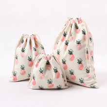 1pcs Pineapple Drawstring canvas Cotton Storage Bag Gift Candy Tea Jewelry Organizer Makeup Cosmetic Coins keys Bags 49034