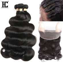 Malaysian Hair Body Wave 3 Bundles with 360 Lace Frontal Closure with Bundles Pre Plucked Frontal Closure HC Non Remy Hair 4 Pcs(China)