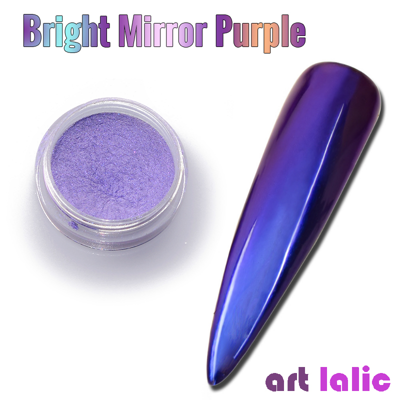 Nail Art Purple Mermaid Pearl Nail Powder Glitters Mirror Effect Chrome Pigment Powder Aurora Manicure DIY Decoration w/ Sponge image