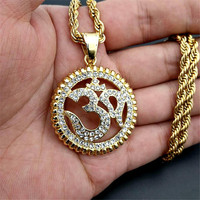 Religious Round Yoga Pendant Necklaces Gold Color Stainless Steel Rhinestones Necklace Iced Out Bling Indian Jewelry XL1230