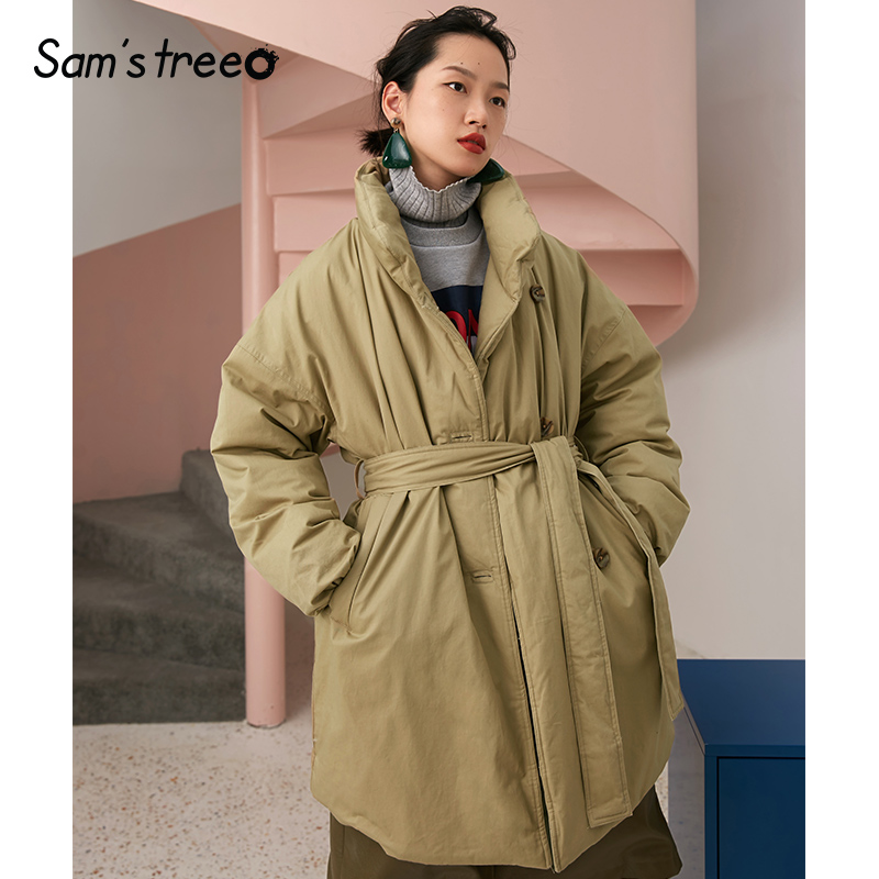 Samstree Winter Women 90% White Duck   Down     Coats   Waist Belt Simple Loose Female Long   Coat   Stand Collar Snow Wear Parka