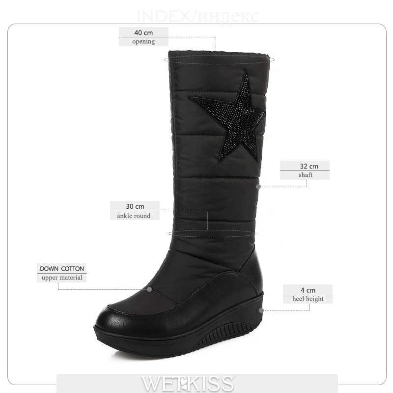 WETKISS Artı Boyutu 35-44 Kış Kar Botları Kadın Bling Platformu Çizme Sıcak Kış Aşağı Pamuklu Ayakkabı Cleated moda bayan ayakkabı