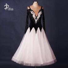 White/Red Ballroom Dance Dress Modern Waltz Standard Competition Rhinestone Dress/ Ballroom Dance Competition Dresses