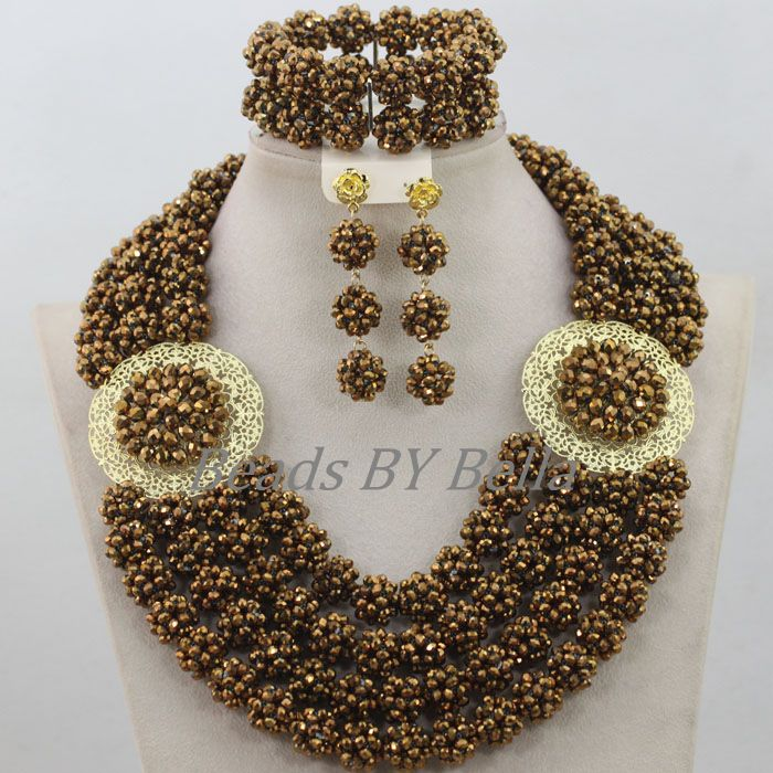 Popular Brown Gold Crystal Beads Balls Jewelry Set Nigerian Beaded Necklaces Sets African Wedding Jewelry Free Shipping ABF683Popular Brown Gold Crystal Beads Balls Jewelry Set Nigerian Beaded Necklaces Sets African Wedding Jewelry Free Shipping ABF683